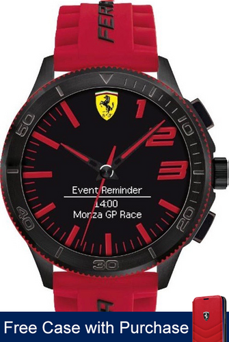 Scuderia Ferrari Smart Watch 2.2 , multi-functional display with red accents , (Red silicone strap )