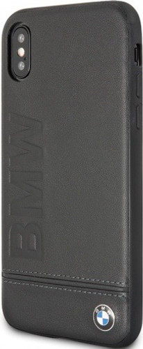BMW, Case for iPhone X,  Logo Imprint , Genuine Leather - Black