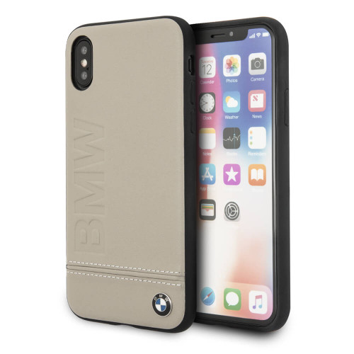 BMW, Case for iPhone X,  Logo Imprint , Genuine Leather - Taupe