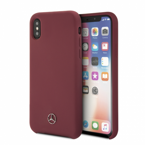 Mercedes , Case for iPhone X, LIQUID SILICON  with microfiber lining - Red