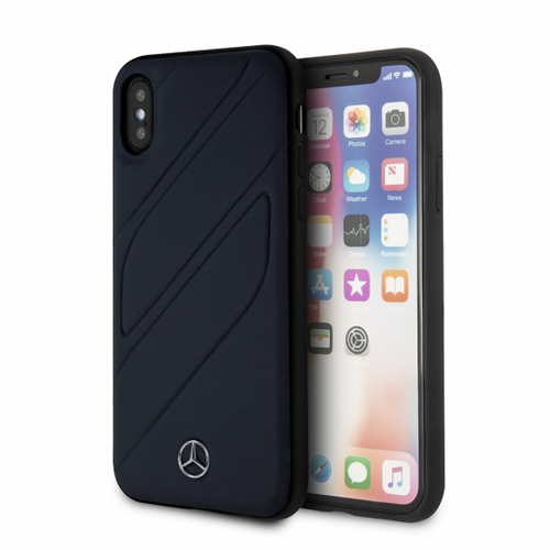 "Mercedes , Case for iPhone X, collection ""NEW ORGANIC I "",   Genuine leather  - Blue Abyss"