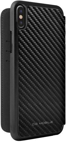 Ferrari , Book-case for iPhone 8 (New iPhone 8 ) ,  leather with contrasted stitchings - Black Carbon - back