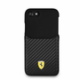 """Ferrari, Case WITH CARD SLOT for iPhone 8/7, Collection """"SF"""" , CARBON, BLACK"""