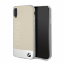 BMW Case for iPhone Xs/X - Genuine Leather & Sand Blasted Aluminum Plate (Beige/Silver)