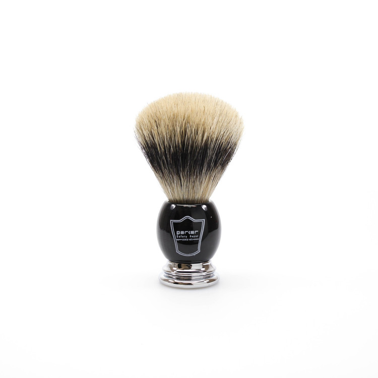 Parker Silvertip Badger Shaving Brush w/ Black Handle