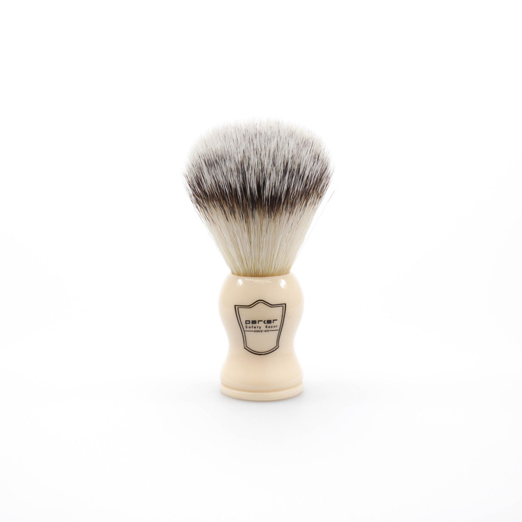 Parker Synthetic Bristle Shaving Brush w/ Ivory Handle