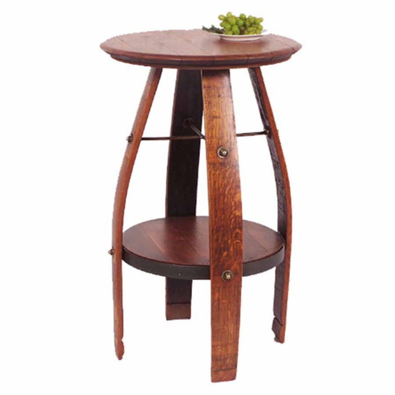 Bistro Table, Wine Barrel Top, Wine Staves For Legs, Extra Shelf, 2