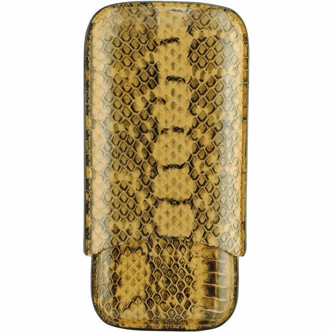 Atlantic Cigar Snake Leather Cigar Case 3-CT