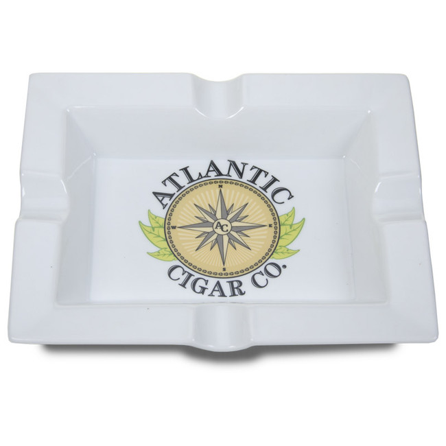 Atlantic Cigar Logo Ashtray White