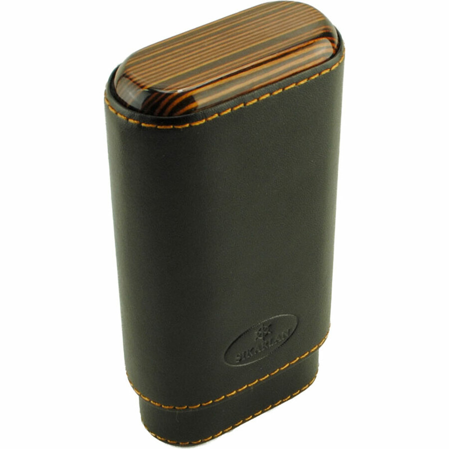 Atlantic Cigar Ebony Black Leather Cigar Case 3-CT
