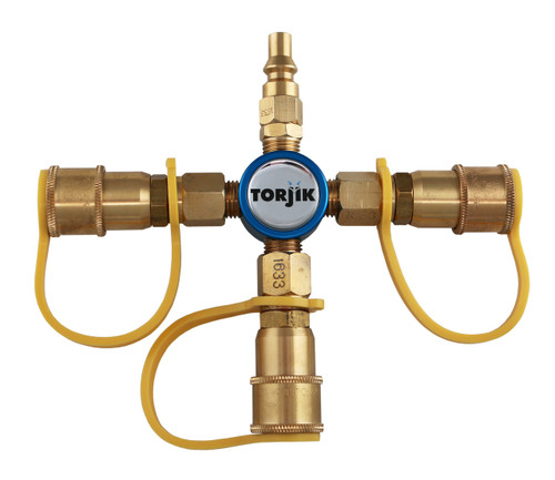 The Torjik QUICK•CROSS allows you to connect three low-pressure appliances to your RV's female quick-connect port.