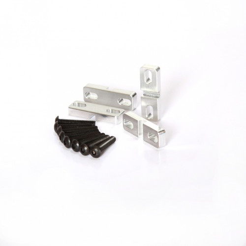 Team Losi 5ive-T Aluminum servo clamps.  These little machined pieces can save you tons of aggravation by protecting your servo tabs and preventing any servo movements.