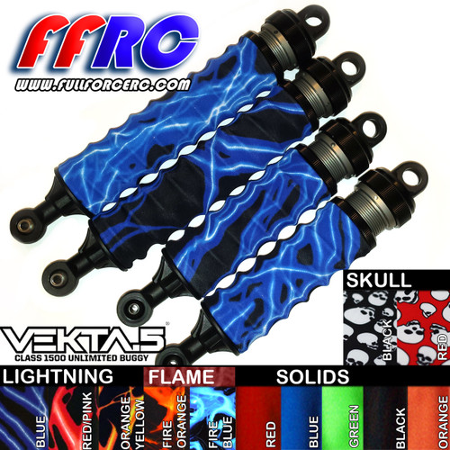 Kraken Vekta.5 Shock boots in your choice of colors!  These little upgrades simply slide over the length of the stock springs and tuck in on both ends.  They do a great job of keeping out dirt and grime and prolong the life of your seals and your shocks!   Shown here are the lightning Blue versions mounted on the stock shocks.