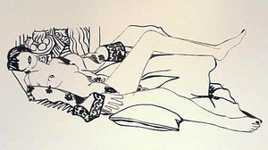 MONICA NUDE WITH PURPLE ROBE BY TOM WESSELMANN
