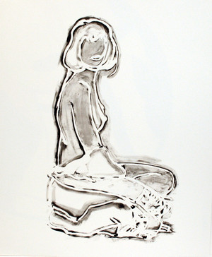 MONICA SITTING ROBE HALF OFF BY TOM WESSELMANN