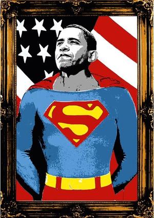 OBAMA SUPERMAN (GOLD) BY MR. BRAINWASH