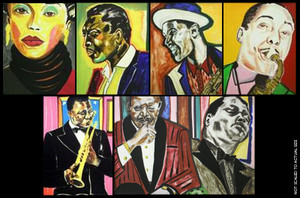 JAZZ MUSICIANS (SUITE OF 6) BY FREDERICK BROWN