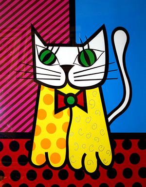 THE CAT BY ROMERO BRITTO