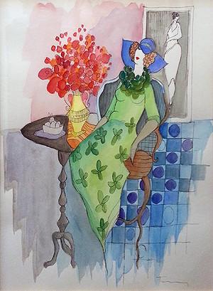 GREEN DRESS (WATERCOLOR) BY ITZCHAK TARKAY