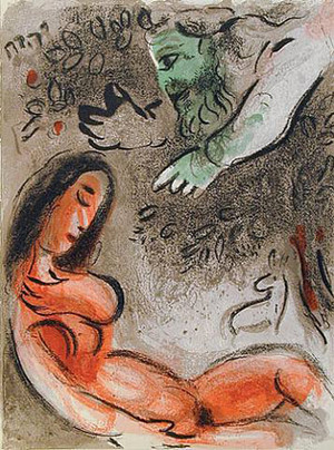 EVE INCURS GOD'S DISPLEASURE BY MARC CHAGALL