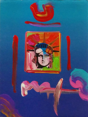 LIBERTY HEAD V (OVERPAINT) BY PETER MAX