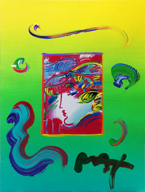 BLUSHING BEAUTY I (OVERPAINT) BY PETER MAX