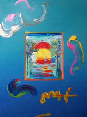 WITHOUT BORDERS (OVERPAINT) BY PETER MAX
