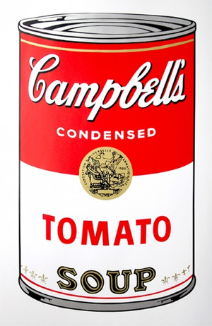 TOMATO - CAMPBELL SOUP CAN BY ANDY WARHOL FOR SUNDAY B. MORNING