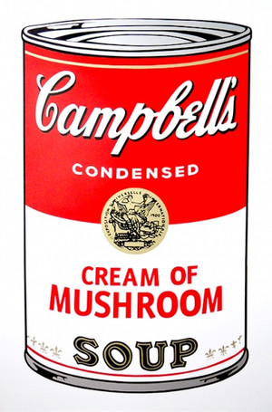 CREAM OF MUSHROOM - CAMPBELL SOUP CAN BY ANDY WARHOL FOR SUNDAY B. MORNING