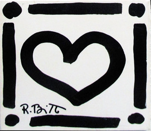 WHITE HEART BY ROMERO BRITTO