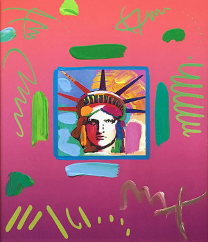 LIBERTY HEAD II PINK (OVERPAINT) BY PETER MAX