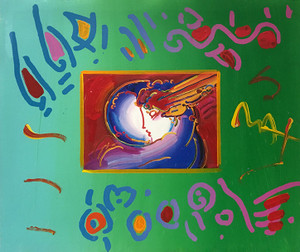 I LOVE THE WORLD (OVERPAINT) BY PETER MAX