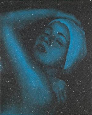 SHOWER PORTRAIT (BLUE) BY CAROLE A. FEUERMAN