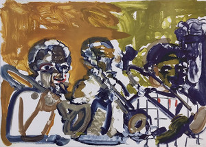BRASS SECTION, JAMMING AT MINTONS BY ROMARE BEARDEN