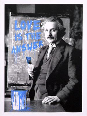 HAPPY BIRTHDAY EINSTEIN (BLUE) BY MR. BRAINWASH
