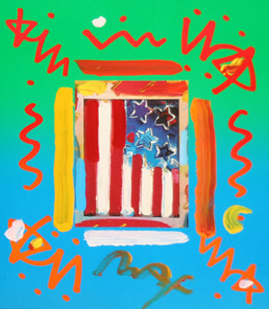 FLAG (OVERPAINT) BY PETER MAX