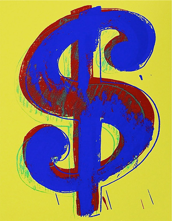 $ DOLLAR SIGN (YELLOW) BY ANDY WARHOL FOR SUNDAY B. MORNING