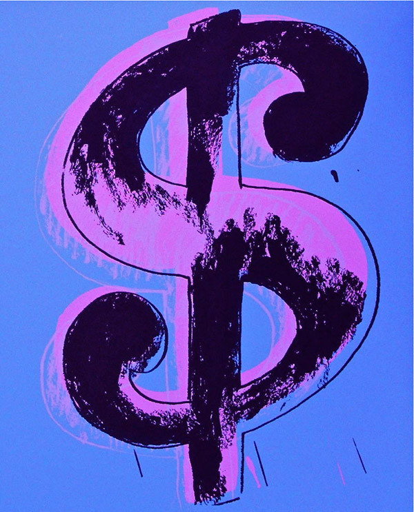 $ DOLLAR SIGN (BLUE) BY ANDY WARHOL FOR SUNDAY B. MORNING