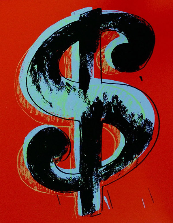 $ DOLLAR SIGN (RED) BY ANDY WARHOL FOR SUNDAY B. MORNING