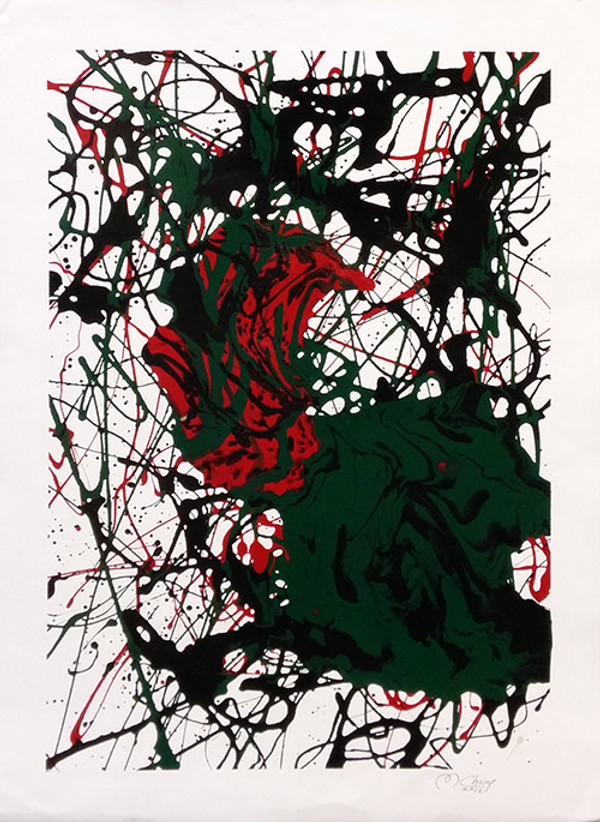 ABSTRACT (BLACK RED AND GREEN) BY MARIO CHUY
