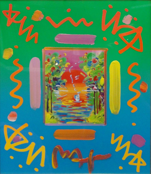 BETTER WORLD COLLAGE I (OVERPAINT) BY PETER MAX