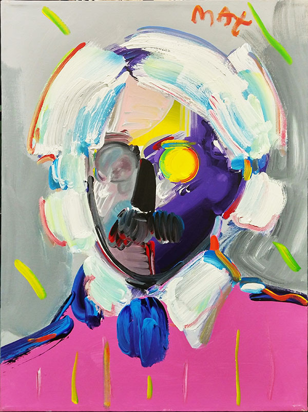 ANDY WITH MUSTACHE (PINK) BY PETER MAX
