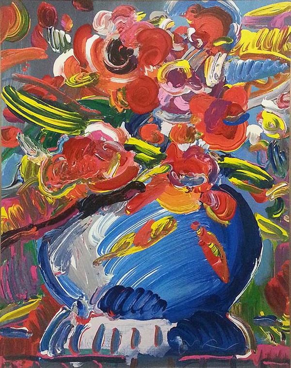 Flowers In A Blue Vase By Peter Max Grun Art