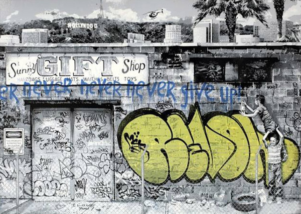 NEVER GIVE UP BY MR. BRAINWASH