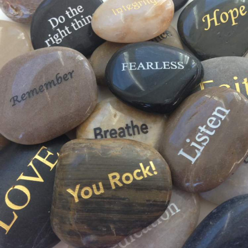 Set of 25 Inspirational River Stones ($1.25 each)