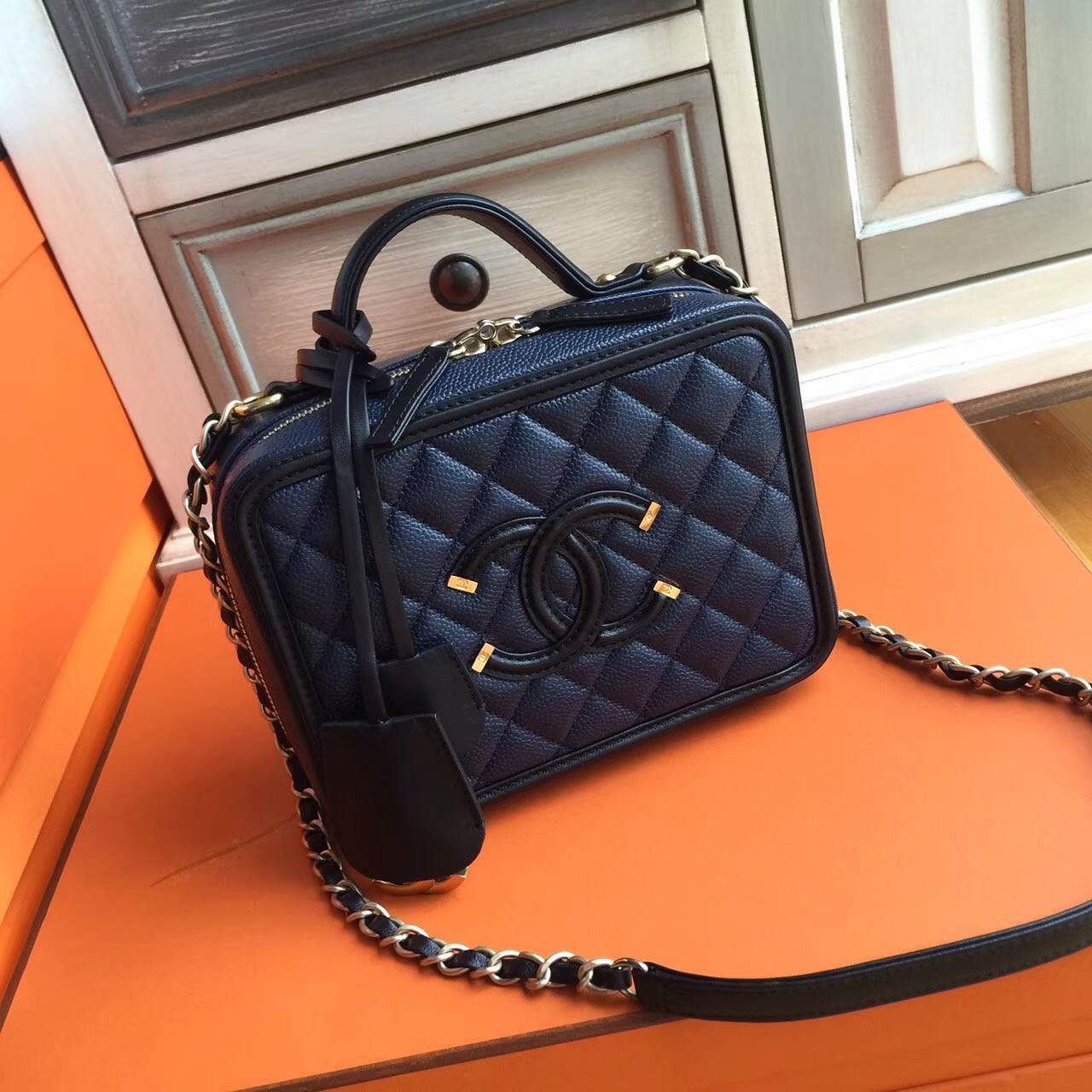 Chanel Cc Filigree Vanity Case Bag Medium Black Blue