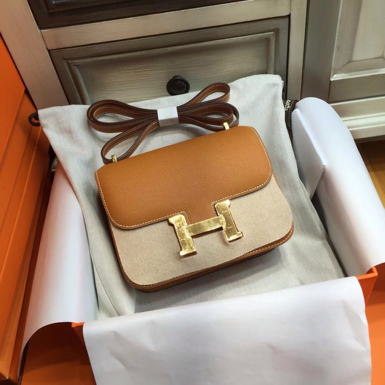 7bf6cc52e2a5 ... new arrivals hermes toffee constance epsom leather 18cm gold hardware  08190 b11aa