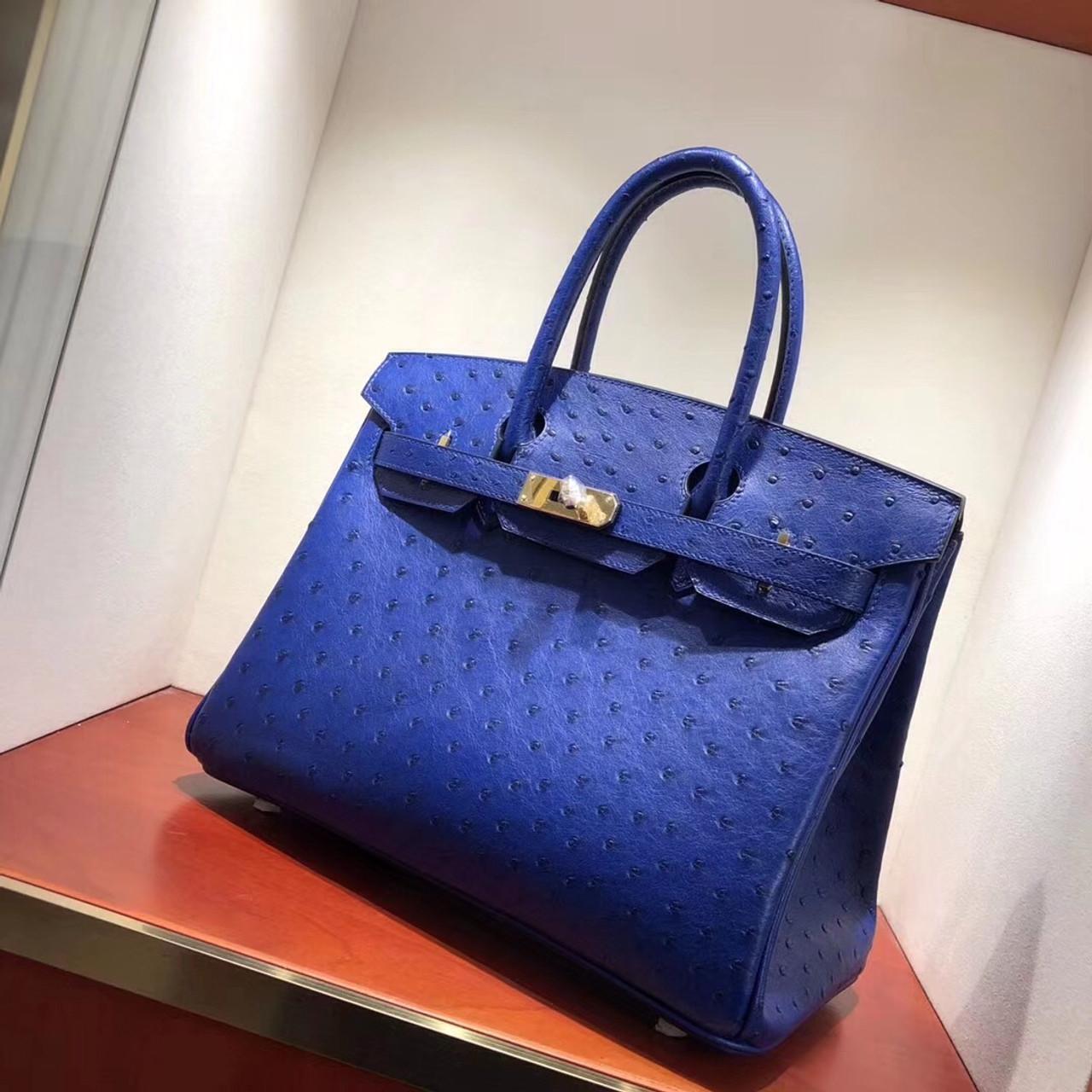 38b18ab5c6 ... italy hermes t7 blue hydra birkin bag 30cm kk ostrich leather gold  hardware ba450 1d10a