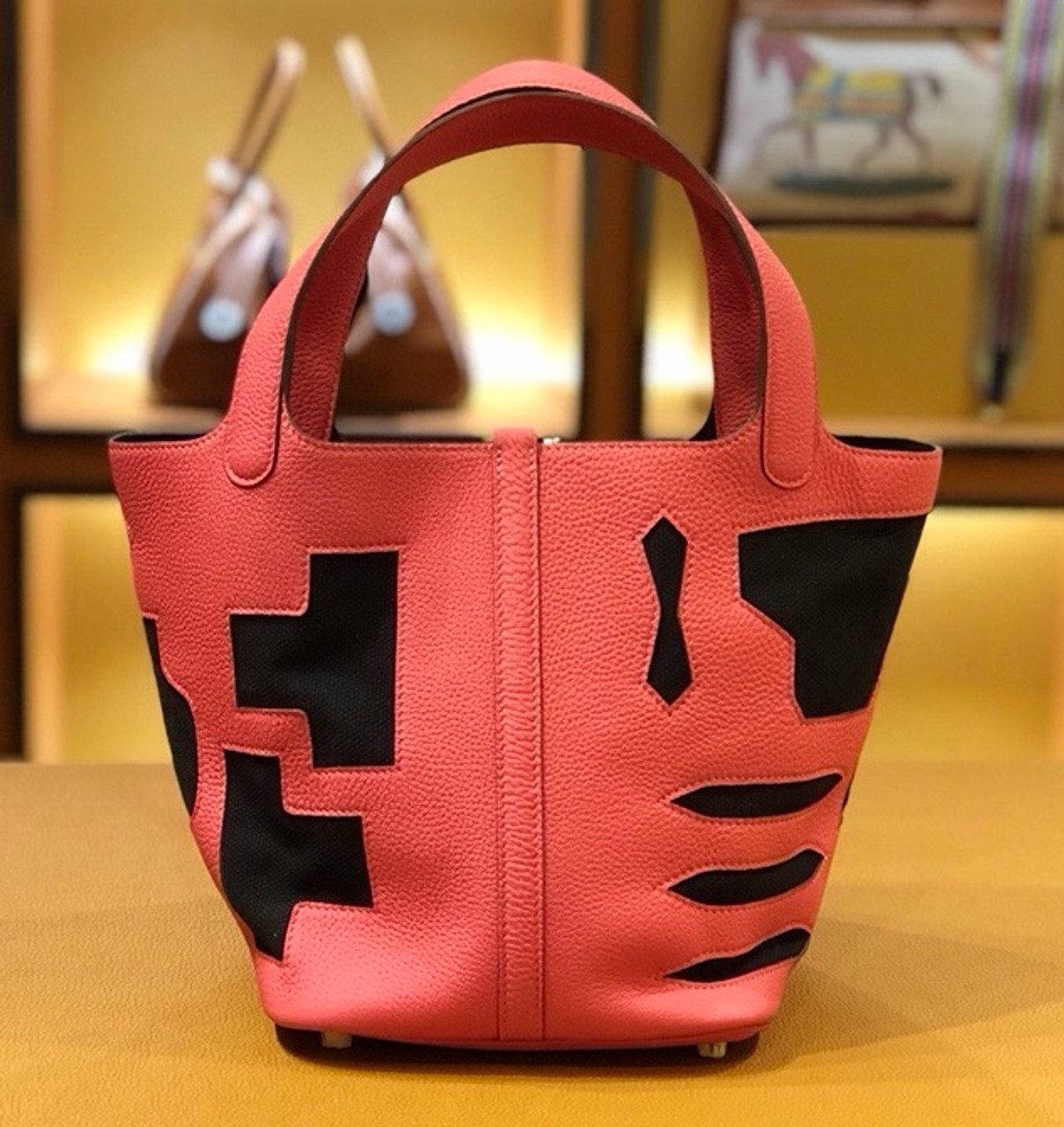 de7f33540dcd ... amazon hermes petit h limited edition u5 rose lipstick black picotin  lock 22 togo leather bag