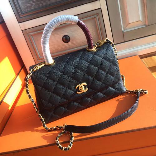 Chanel Black Calfskin Lizard Coco Handle Small Bag d70eb9ccda22e